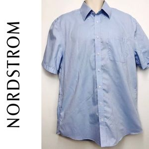 NORDSTROM Button Down Dress Shirt L 16 Solid Blue